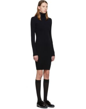 photo Navy Cotton Rib Knit Short Dress by Helmut Lang - Image 2