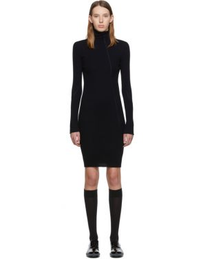 photo Navy Cotton Rib Knit Short Dress by Helmut Lang - Image 1