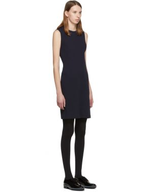 photo Navy Jersey Neck Drape Dress by Helmut Lang - Image 2