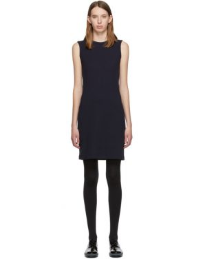 photo Navy Jersey Neck Drape Dress by Helmut Lang - Image 1