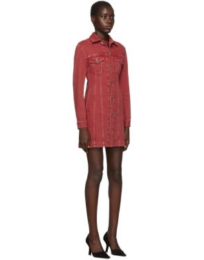 photo Red Denim Femme Trucker Dress by Helmut Lang - Image 2