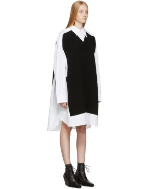 photo White and Navy Cotton Poplin Dress by Maison Margiela - Image 2