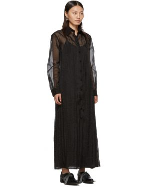 photo Black Organza Long Shirt Dress by Maison Margiela - Image 2