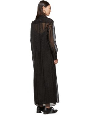 photo Black Organza Long Shirt Dress by Maison Margiela - Image 3