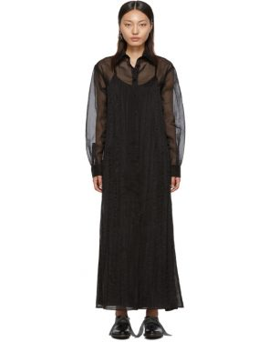photo Black Organza Long Shirt Dress by Maison Margiela - Image 1