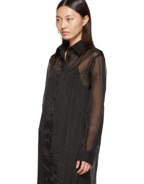 photo Black Organza Long Shirt Dress by Maison Margiela - Image 4