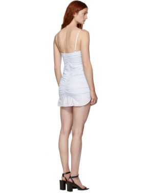 photo White and Blue Ruched Dress by Alexander Wang - Image 3