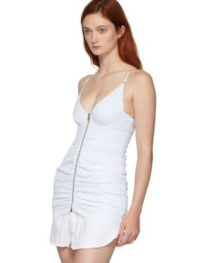 photo White and Blue Ruched Dress by Alexander Wang - Image 4