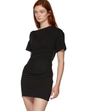 photo Black Draped T-Shirt Bustier Dress by Alexander Wang - Image 4