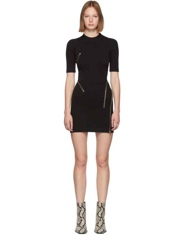 photo Black Travelling Zip Rib Dress by Alexander Wang - Image 1