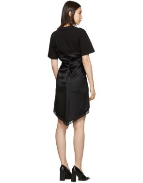 photo Black Cinched T-Shirt Slip Dress by Alexander Wang - Image 3
