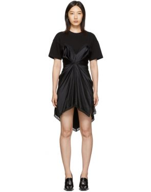 photo Black Cinched T-Shirt Slip Dress by Alexander Wang - Image 1
