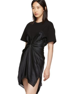 photo Black Cinched T-Shirt Slip Dress by Alexander Wang - Image 4