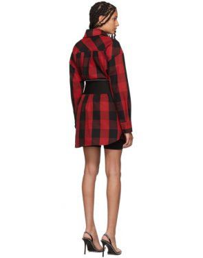 photo Black and Red Plaid Belt Shirt Dress by Alexander Wang - Image 3