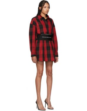 photo Black and Red Plaid Belt Shirt Dress by Alexander Wang - Image 4