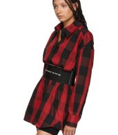 photo Black and Red Plaid Belt Shirt Dress by Alexander Wang - Image 5