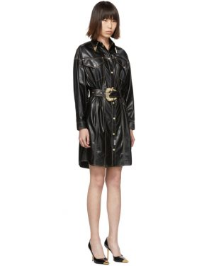 photo Black and Gold Spread Shirt Dress by Versace Jeans Couture - Image 2