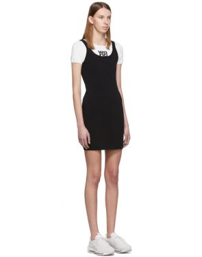 photo White and Black Sport Layering Logo Mini Dress by alexanderwang.t - Image 2