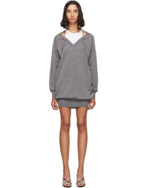 photo Grey and White Bi-Layer Sweater Dress by alexanderwang.t - Image 1