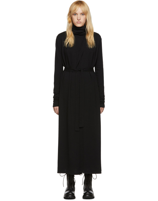 photo Black Bathrobe Dress by Rick Owens - Image 1