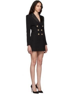 photo Black Grain De Poudre Wool Jacket Dress by Balmain - Image 2