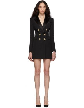 photo Black Grain De Poudre Wool Jacket Dress by Balmain - Image 1