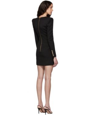 photo Black Wool Cache-Coeur Short Dress by Balmain - Image 3