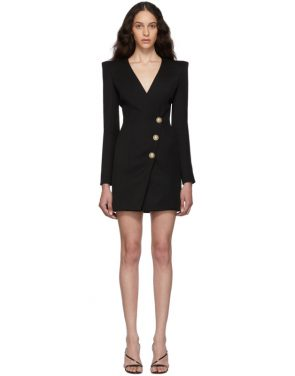 photo Black Wool Cache-Coeur Short Dress by Balmain - Image 1