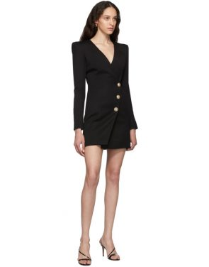 photo Black Wool Cache-Coeur Short Dress by Balmain - Image 5