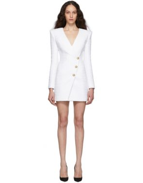 photo White Tweed Cache-Coeur Short Dress by Balmain - Image 1