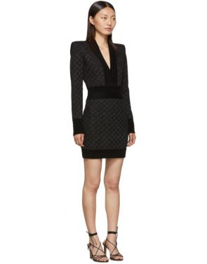 photo Black V-Neck Iridescent Long Sleeve Dress by Balmain - Image 2