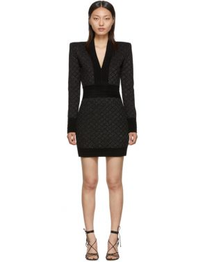 photo Black V-Neck Iridescent Long Sleeve Dress by Balmain - Image 1