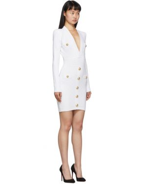 photo White Knit Short Dress by Balmain - Image 2