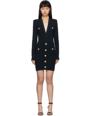 photo Navy Knit Short Dress by Balmain - Image 1