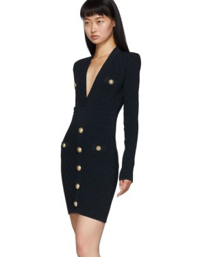 photo Navy Knit Short Dress by Balmain - Image 4