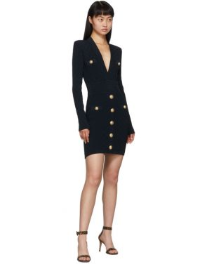 photo Navy Knit Short Dress by Balmain - Image 5