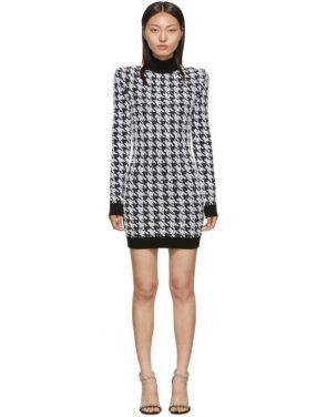 photo Black and White Tweed Houndstooth Long Sleeve Dress by Balmain - Image 1