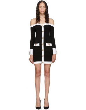 photo Black Velvet Contrast Dress by Balmain - Image 1