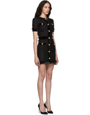photo Black Tweed Short Dress by Balmain - Image 2