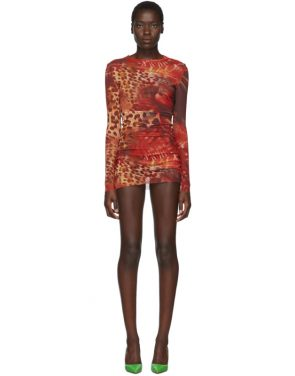 photo Orange Skin Mesh Dress by Mowalola - Image 1