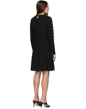 photo Black Knit Ottoman Mini Dress by Alexander McQueen - Image 3