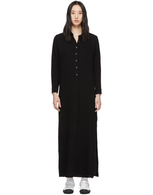 photo Black Maxi Henley Dress by Raquel Allegra - Image 1
