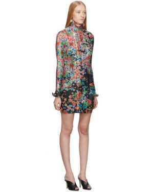 photo Multicolor Flowers Pleated Long Sleeve Dress by Givenchy - Image 2