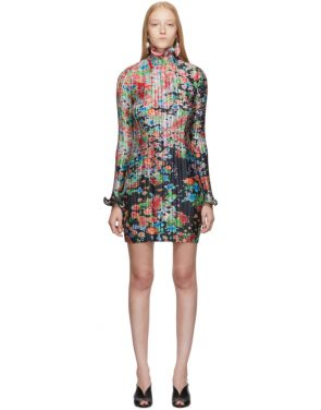 photo Multicolor Flowers Pleated Long Sleeve Dress by Givenchy - Image 1