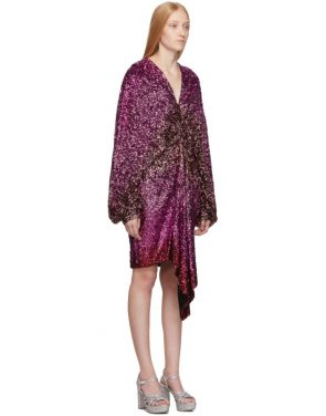 photo Pink Degrade Sequin Voluminous Sleeve Dress by Halpern - Image 2