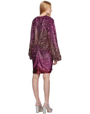 photo Pink Degrade Sequin Voluminous Sleeve Dress by Halpern - Image 3