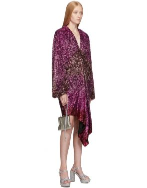 photo Pink Degrade Sequin Voluminous Sleeve Dress by Halpern - Image 5