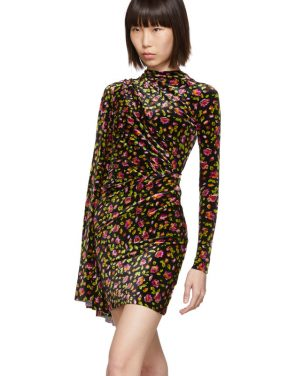 photo Black Velvet Floral Asymmetric Drape Dress by Balenciaga - Image 4