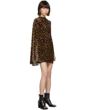 photo Black Velvet Floral Asymmetric Drape Dress by Balenciaga - Image 5