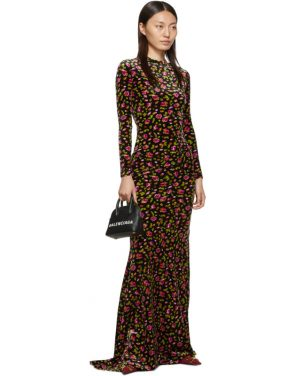 photo Black Velvet Evening Long Dress by Balenciaga - Image 5